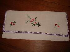 """pochette serviette table en LIN motif """" BOUQUET DE FLEURS EN RELIEF """" -blanc"""