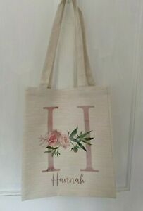 Personalised Floral letter/name cream canvas tote bag bridesmaid/teacher gift