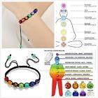 7 Chakra Healing Balance Beaded Bracelet Lava Yoga Reiki Prayer Stone Jewerly