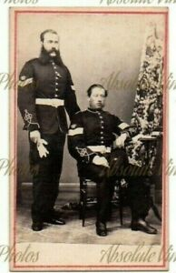 MILITARY CDV PHOTO 2 NAMED SOLDIERS IN UNIFORM POSSIBLY GIBRALTAR VINTAGE 1860S