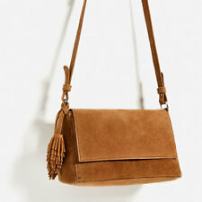 Zara Split Suede Crossbody Bag With Tassels - leather color