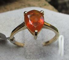 1.24 cts AAA American Fire Opal Solitaire Size 7 Ring in 10k Yellow Gold