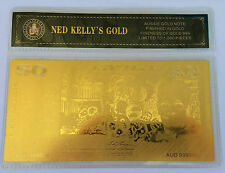 NED KELLY'S GOLD $50.00 OLD NOTE 24K 999 GOLD FOIL BANK NOTE C.O.A. PACK