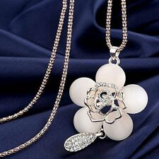 Women Shining Rhinestone Charm Crystal Sweater Chain Pendant Necklace Jewelry