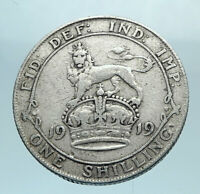 1919 Great Britain UK United Kingdom SILVER SHILLING Coin King George V i78193