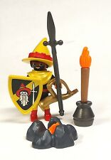 PLAYMOBIL 4953 GNOME KNIGHT with spear, shield, fire, horn, torch and hat