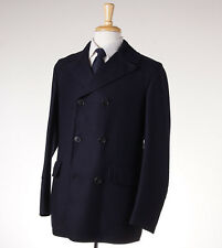 NWT $1975 BELVEST Double-Breasted Navy Blue Twill Wool Coat 38 R (Eu 48) Peacoat