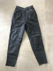 Pantalon en cuir noir Vintage Taille 34 XS