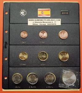 2010 ESPAÑA 8 MONEDAS EURO SC + HOJA DE PARDO + 2 EUROS MEZQUITA + 12€ PLATA