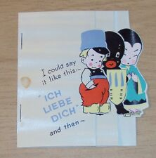 "VTG ca 1940 UNIQUE Greeting/VALENTINE Card~""ICH LIEBE DICH""~I Love You~"