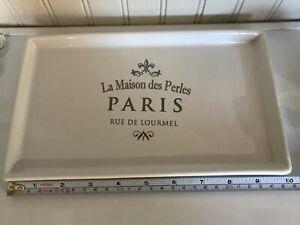La Maison des Perles PARIS Rue De Lourmel Silver White Rectangle Vanity Tray