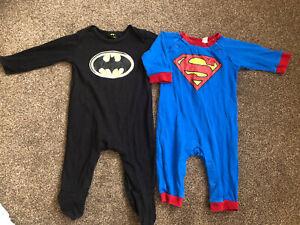 Baby Boy Sleepsuits 3-6 Months Batman Superman