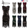 1920s Vintage Flapper Gatsby Wedding Party Evening Prom Club Sequin Fringe Dress