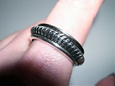 TAXCO Sterling Silver Grooved Wheel Spinner 7.5mm Band Ring~Sz 11.5~10.4G