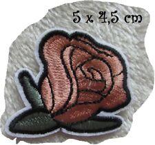 C5259 - BOUTON ROSE Saumon ** 5 x 4,5 cm ** APPLIQUE ÉCUSSON PATCH THERMOCOLLANT