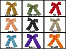 "( Set of 10) Pre-made 1-1/2"" Satin Bows with Wire Tie Included Choose Color"