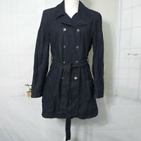 Talbots Blue Denim Coat Dress Women 8 Dark Blue Double Breasted Collar Belted 8
