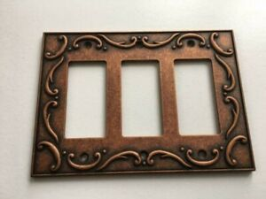 Triple Decorator Wall Plate French Lace  Copper Franklin Brass W33794