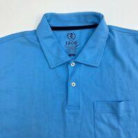 Izod Golf Polo Shirt Men's Size 2XL XXL Short Sleeve Blue Casual 100% Cotton