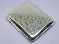 1918 ANTIQUE ENGLISH STERLING SILVER CIGERETTE CASE. 84 GRAMS. MAKERS V.P.M.Co