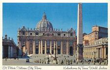 St Peters, Vatican City, Rome  Kodachrome Trans World Airline postcard vintage