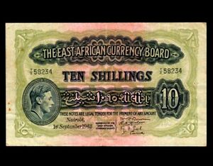 EAST AFRICA 10 Shilling 1943  P-29  VF
