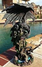 Large Ancient Black Dragon Guarding Castle Rampart Atop a Rocky Cliff Statue