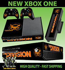 XBOX ONE CONSOLE STICKER TOM CLANCY THE DIVISION BLACK LOGO 002 SKIN & PAD SKINS
