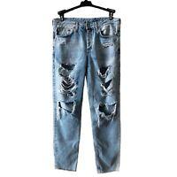 & Denim H & M Bleached Jeans Womens Sz 26 BOYFRIEND Ripped Distressed Jeans #b14