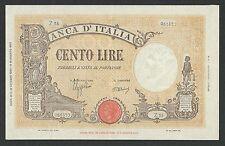"Italy Lire 100 q FDS /a UNC BARBETTI "" BI "" Decr. 10-10-1944 !!! Rara"