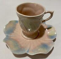 Vintage~Pink,Blue & Yellow~ Drip Glaze~Tea Cup and Saucer~Ceramic