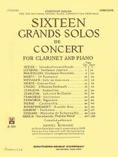 Sixteen Grands Solos de Concert for Clarinet and Piano Woodwind Solos  003770185