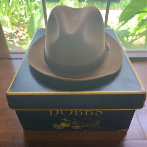 Dobbs Mens Trilby Fedora Hat Tan Fitted Rope Band USA 7 1/4
