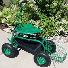 Sunnydaze Rolling Garden Cart w/ Extendable Steering Handle Seat & Tray - Green
