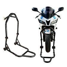 Strong Triple Tree Front Wheel Lift Motorcycle Center Race Stand Headlift Black