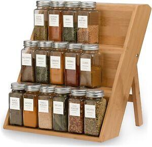 3-Tier Bamboo Fodable Spice Rack Organizer For Countertop Seasoning Organizer AU