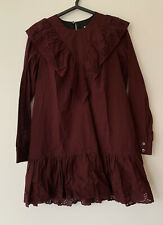 Paul & Joe Sister Burgundy Long SleeveCotton Dress & Broderie Anglaise Detail. M