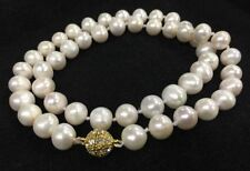 """Freshwater Pearl Necklace 18""""Aaa Genuine Natural 9-10Mm white Akoya"""