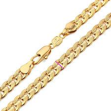 18k Solid Gold GF Cuban Link Chain Real Curb Classics Men Necklace