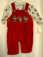 Boys Holiday Red Velvet Appliqued Overalls w Matching Bear LS Tee Sz 3-6 Mo New