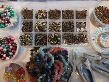 Superb Jewellery Making LARGE KIT Storage Box Gemstone Chips Tools Bronze Plated