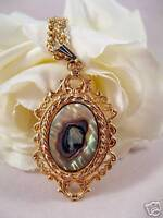Vintage Abalone Ornate Gold tone Necklace  CAT RESCUE