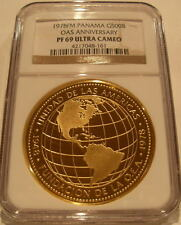 Panama 1978FM Gold 500 Balboas NGC PF-69UC Oas Anniversary