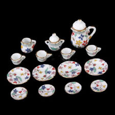 15pcs Floral Porcelain Dollhouse Miniature Coffee Tea pot lid dish Cups Set 1/12