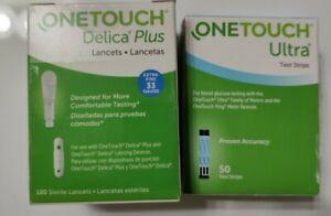 50(04/30/22) Onetouch Ultra Glucose Blood Test Strips-PLUS 100 Lancet 33 Gauge