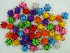 50 pompons ronds 15mm fils metallisés MIX peluches polyester loisirs créatifs
