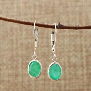 925 Sterling Silver 8x6mm Oval Natural Zambian Emerald Lever Back Drop Earrings