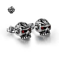 Silver stud red crystal stainless steel skull earrings tattoo head soft Gothic