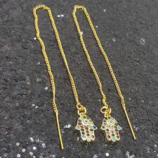 18K Gold Filled Elegant Italian Hamsa Amulet 18ct GF Threader Earring 70mm