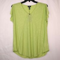 New Jones New York Green VNeck TShirt Size Medium Womens Blouse Top Slit Sleeves